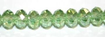 72pcs x 8mm Light green with AB coating faceted glass rondelle beads -- S.G06 -- 3005627
